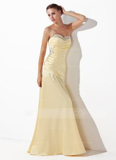 Prom Dresses - $129.99 - A-Line/Princess Sweetheart Floor-Length Charmeuse Prom Dress With Ruffle Beading Sequins (018004827)