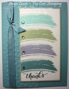 A Work of Art In Cool Colors—chevron, swoosh, wash, thanks, stampin' up, in colors.   Details at www.TooCoolStamping.com