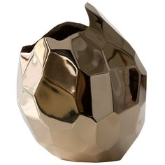 Unique small bronze polished facet #vase. Designed & made by David Wiseman, USA, 2012. #accessories