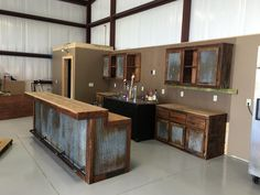 backyard remodel Rustic Barnwood Bar with barn tin -Dimensions - Bars are 36 tall in the back (working/serving area), 42 in the front (seating/drinking area).Bar Lengths will vary dep Metal Building Homes, Building A House, Building Exterior, Barn House Plans, Pole Barn Homes, Pole Barn Shop, Pole Barns, Man Cave Home Bar, Metal Buildings