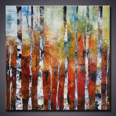 ORIGINAL  Landscape Birch Forest Palette Knife Art by AMMStudio