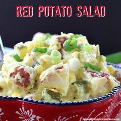 Red Potato Salad Easy Salad Recipes, Side Dish Recipes, Appetizer Recipes, Healthy Recipes, Side Dishes, Appetizers, Suddenly Salad, Creamy Potato Salad, Soup And Salad