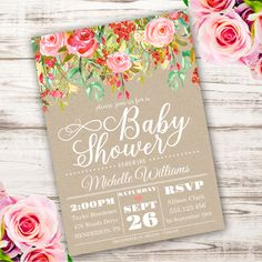 Printable Shabby Chic Baby Shower Invitation Template Invite Your Guests To With