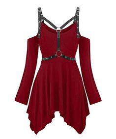 Love this Red Wine Grommet Strap Cutout Handkerchief Tunic - Women on High Fashion Outfits, Outfits For Teens, Boho Fashion, Dress Fashion, Teen Fashion, Casual Outfits, Fashion Trends, Plus Size Blouses, Plus Size Tops