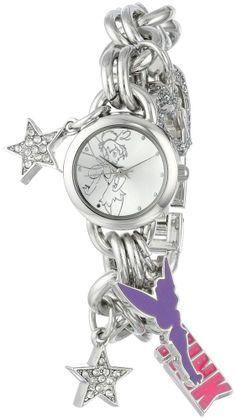 Disney Tinkerbell Women's TK2023 Silver Sunray Dial Charm Bracelet Watch