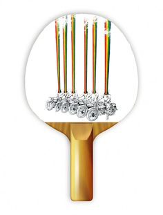 """Play ping pong with style with Uberpong's """"RAINBOW HEADZ"""" paddle. Get yours for $39.99 on uberpong.com #uberpongstyle"""