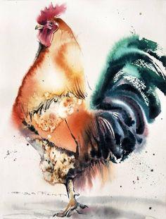"""Aesthetic Sharer on Twitter: """"Russian watercolor artist Olga Flerova's chicken https://t.co/Gp7PuK35YN"""""""