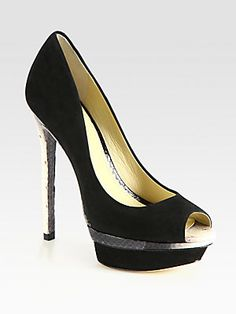 New to my collection   B Brian Atwood Snake-Print Leather and Suede Platform Pumps