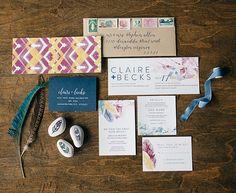 Bohemian Fall wedding invitation