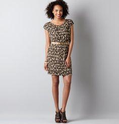 Leopard Print Belted Cap Sleeve Dress. want!