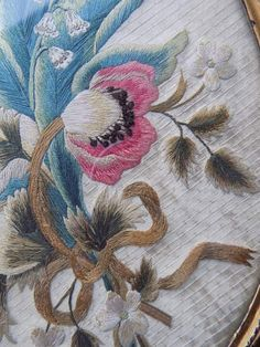 19th-Century-Embroidered-Silkwork-Antique-Old-Picture-Sampler-Silk-Embroidery