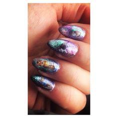 #galaxy #cosmic #cat #nailart #biosculpture #gelnails