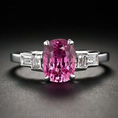 Art Deco Style Pink Sapphire and Diamond Ring - 30-1-5289 - Lang Antiques