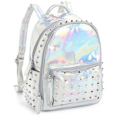 Bari Lynn Women's Spiked Backpack ($55) ❤ liked on Polyvore featuring bags, backpacks, silver, spike backpack, knapsack bag, top handle bags, spike bag and day pack backpack