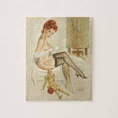 Redhead with Anna's Mannequin Pin Up Art Jigsaw Puzzle