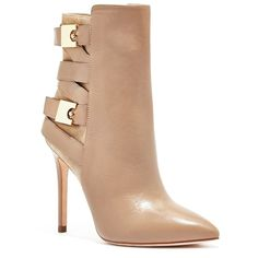 GUESS Bianca Bootie ($278) ❤ liked on Polyvore featuring shoes, boots, ankle booties, nude, tall leather boots, high heel leather boots, high heel ankle boots, buckle boots and strappy booties