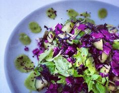 Seaweed Salad with Green Ginger Dressing *Leaf lettuce *Red cabbage *Cucumber *Arame *Nori *Nutritional yeast *Cilantro *Coconut or apple cider vinegar *Dulse flakes *Ginger *Zucchini *Stevia, dates or honey *Garlic if desired