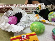 Tie dye Easter eggs... Sooo simple. You need hard boiled eggs, food coloring, and foil.