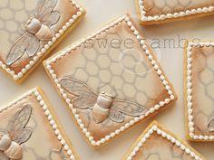 Bee Cookies Set of 6 Orange Vanilla Spice Cookies by SweetAmbs Bee Cookies, Spice Cookies, Fancy Cookies, Valentine Cookies, Sugar Cookies, Holiday Cookies, Cookie Tutorials, Video Tutorials, Cookie Decorating