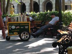 Book cart. Simon Bolivar Square. Cartagena Columbia.