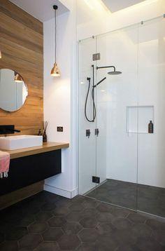 96 Fabulous Luxurious Bathroom Design Ideas You Need To Know Diy Bathroom Decor, Bathroom Styling, Bathroom Ideas, Shower Bathroom, Master Bathroom, Grey Wall Tiles, Douche Design, Small Space Bathroom, Black Shower