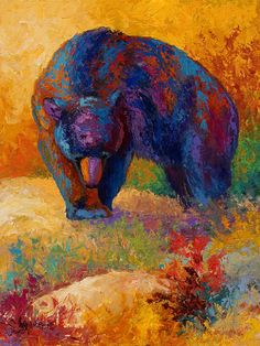 Bear Painting - Berry Hunting by Marion Rose