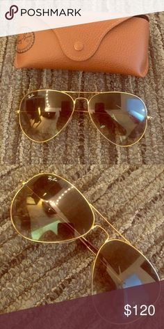 Brown and gold Ray Ban sunglasses Aviator brown and gold frame sunglasses. Comes with case. Large metal. Ray-Ban Accessories Sunglasses