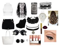 """""""Black&White"""" by fabiola-maria on Polyvore featuring moda, WearAll, Pussycat, Boutique Moschino, Forever Link, Charlotte Russe, GUESS, Nixon y LORAC"""