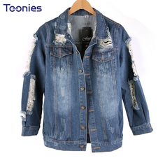 >> Click to Buy << Female Short Jeans Coat Denim Jacket for Women 2017 New Clothes with Boyfriend Style Hole Loose Cool Denim Jacket Large Size #Affiliate