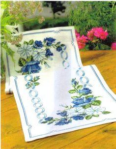 ru / Фото - ***** - celita -- Same in Blue Blue Roses, Blue Flowers, Cross Stitch Designs, Cross Stitch Patterns, Cross Stitch Pillow, Table Runner Pattern, Cross Stitch Flowers, Rose Bouquet, Le Point
