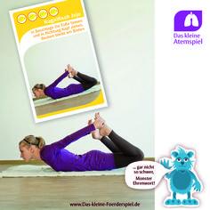 Eine Übung aus: Das kleine Atemspiel. Es wurde zusammen mit der Deutschen Lungenstiftung e.V. entwickelt und besteht aus Übungskarten, die zu einer natürlichen Atemweise anregen und diese trainieren.