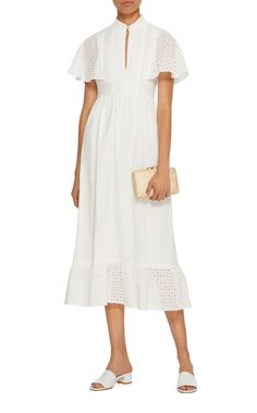 ALEXACHUNG Frilled Broderie Anglaise Cotton Dress