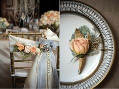 This table setting has a variety of Gatsby details from gold art deco designs to strands of pearls hanging from the chair.
