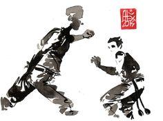 Encres : Capoeira – 640 [ #capoeira #watercolor #illustration]