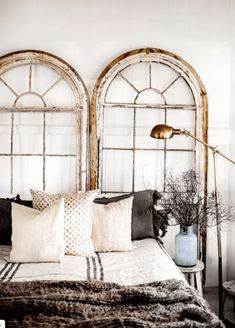 The headboard is one of the most classic elements of any home. But get creative and try one of these incredible headboard alternatives. How unexpected but fabulous do these arched windows look? Home Bedroom, Bedroom Decor, Bedroom Ideas, Bedroom Setup, Design Bedroom, Bedroom Lighting, Bedroom Wall, Bedroom Modern, Bedroom Inspo