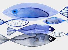 Retro watercolor fish © Margaret Berg www. Watercolor Fish, Watercolor Animals, Watercolor Paintings, Paintings Of Fish, Art And Illustration, Illustrations, Ohh Deer, Art Aquarelle, Fish Design