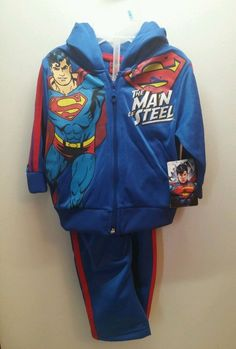 Superman Man of Steel Hoodie Outfit 2 pc Size 12M  New #wb #Everyday