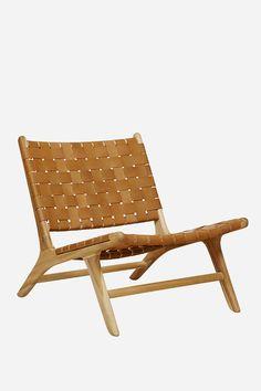 Leather Strapping Marlboro Chair - Teak & Tan