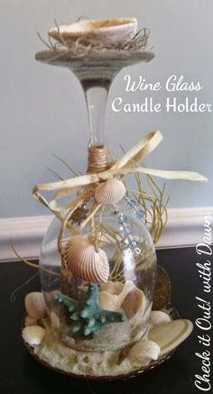 Check it Out! with Dawn: /search/?q=%23TBCCrafters&rs=hashtag Craft Hop - Beach Themed Wine Glass Candle Holder
