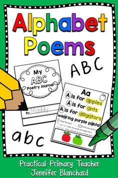 Alphabet Poetry Journal with poems and activities for each letter to practice letter recognition, letter sounds, rhyme and rhythm, repetitive reading practice with 26 funny and original poems for Preschool and Kindergarten students! by hattie Poetry Activities, Phonics Activities, Alphabet Activities, Preschool Alphabet, Language Activities, Reading Activities, Alphabet Poem, Alphabet Books, Prek Literacy