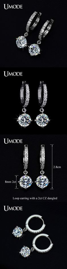 UMODE Fashion Rhodium color Summer Silver Jewelry With 8mm 2 Carat Top Quality CZ  Hoop Earrings For Women AUE0014