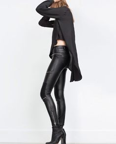 Zara leather zipper pants
