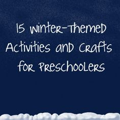 [winter theme] Keep your preschoolers occupied this winter with these fun crafts and activities! Preschool Craft Activities, Winter Activities, Preschool Winter, Preschool Curriculum, Homeschool, Winter Fun, Winter Theme, Little Doll, Early Childhood