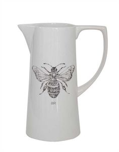 White Stoneware Pitcher with Bee Design - Marmalade Mercantile