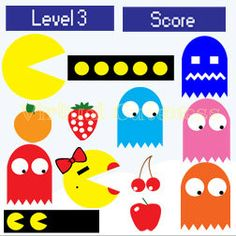 PacMan Photo Booth Props - PacMan Birthday, Retro Props, PacMan, Ms PacMan Photo Props, Party Photo Signs, Printable Cutouts Videogame Party