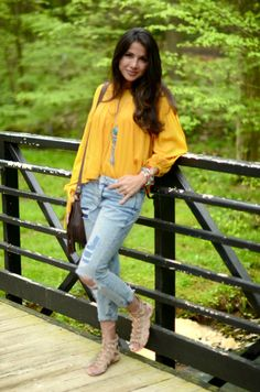 Boho yellow top and ripped jeans