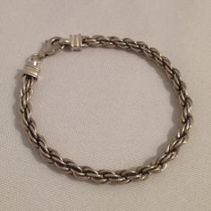 Vintage Sterling Silver 925 4.5mm Twist Rope Chain Bracelet 7.5 Inch on Etsy, $29.99