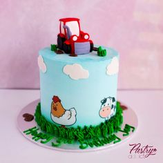 Farm themed birthday cake with a fondant tractor topper. Call or email us to design your dream cake today! #boybirthdaycake #boypartyideas #farmcakes #farmbirthdayparty #farmanimals #birthdaypartyideas #kidspartyideas Farm Birthday Cakes, Animal Birthday Cakes, Farm Animal Birthday, Basic Cake, Cakes Today, Cake Picks, Dream Cake, Farm Theme, Chocolate Buttercream