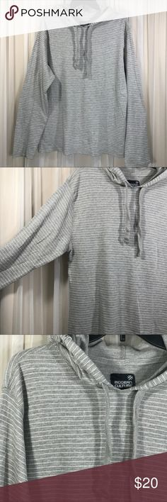 Modern Culture Thermal lightweight Hoodie Shirt Men's Modern Culture Thermal lightweight Hoodie Shirt. Long sleeves. Gray with white stripes. 90% Cotton, 10% Polyester. Size Large.  Gently used condition. No stains, tears, or holes. No fading. See pictures for details. All measurements are taken with item laying flat. Measurements: Chest (underarm to underarm)- 21 inches Length (back neck seam to bottom)- 26 inches Sleeve -  24.5 inches 📦📦FAST SHIPPING!! I strive for same day or next day…