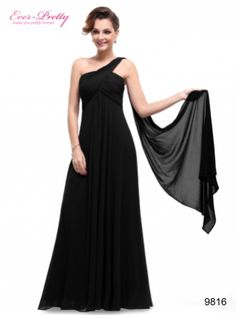Ever-Pretty I A-line One Shoulder Black Ruffles Padded Long Evening Dress $89.99  #everprettydress #eveningdress #blackdress